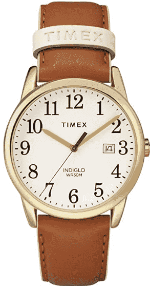 Brown/ Gold Timex Women's Easy Reader Leather Watch