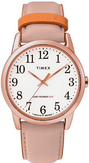 Pink Timex Women's Easy Reader Leather Watch