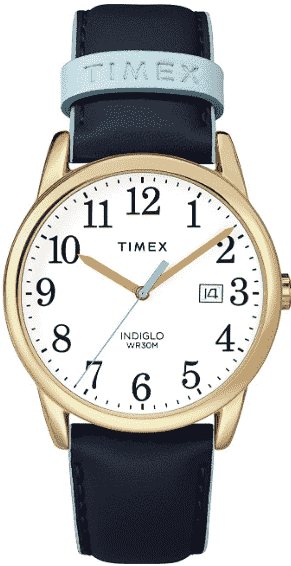 Blue/ Gold Timex Women's Easy Reader Leather Watch