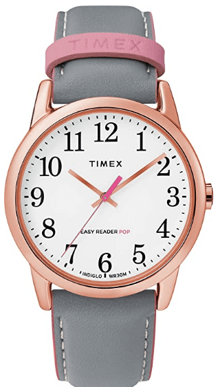 Grey/ Pink Timex Women's Easy Reader Leather Watch