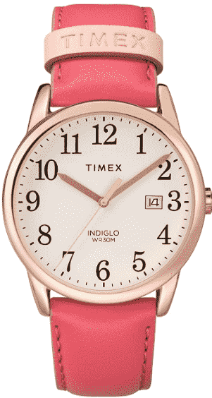 Pink/ Rose Gold Timex Women's Easy Reader Leather Watch