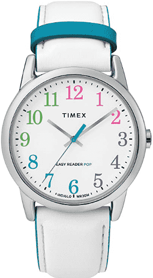 White/ Blue Timex Women's Easy Reader Leather Watch