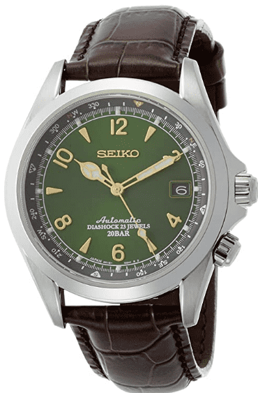 Seiko Leather Calfskin Stainless Steel Watch (SARB017)