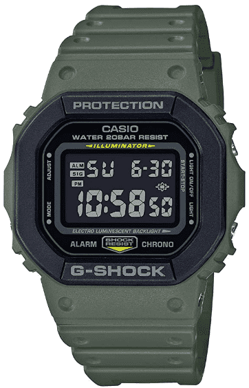 Casio G-Shock Square Army Green Watch – Best Digital Watch for Dementia Patients