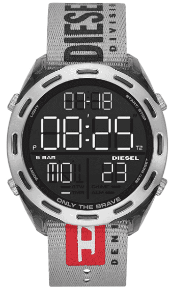 Diesel Men's Crusher Lightweight Nylon Watch – Extra Large Display Digital Wrist Watch